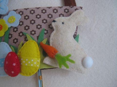 Húsvéti kosárkás ajtó dísz, Dekoráció, Húsvéti apróságok, Ünnepi dekoráció, Meska