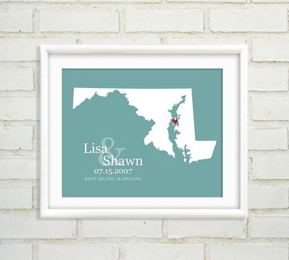 Maryland Map State Wedding Personalized Heart First Anniversary Gift Paper