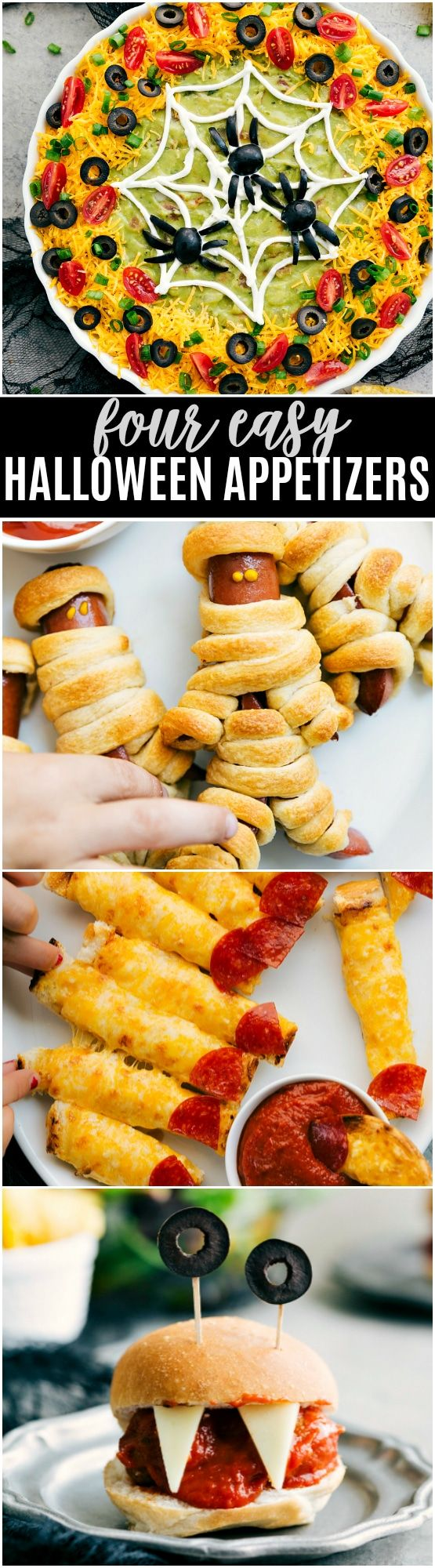 Four easy, & creative Halloween appetizers that are so delicious -- Spiderweb 7-Layer Dip, Walking Dead Mummy Dogs, Monster Meatball Sliders, & Cheesy Monster Fingernail Bread. via chelseasmessyapron.com