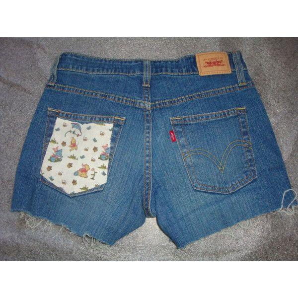 Winnie Pooh Piglet Disney Custom Pocket Jean Denim Levis 519 Frayed... ($30) ❤ liked on Polyvore featuring shorts, grey, women's clothing, high waisted shorts, high rise jean shorts, high-waisted jean shorts, grey high waisted shorts and denim shorts