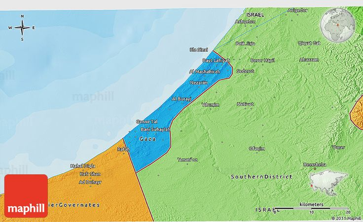 Political Shades 3D Map of Gaza Strip
