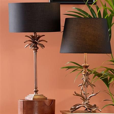 Palm Tree Table Lamp Base, Antique Copper  Product Information Traditional yet exotic, our beautiful copper palm tree stick lamp includes stunning detail and is complimented beautifully with a traditional tapered shades.  Dimensions (HxWxD): 52x11.5x14cm Material: Brass Bulb Included: No  Max Wattage: 60 Cord Length: Black 2M, Black In-Line Switch (30cm From Side of Lamp) Product Code 30-171-BO