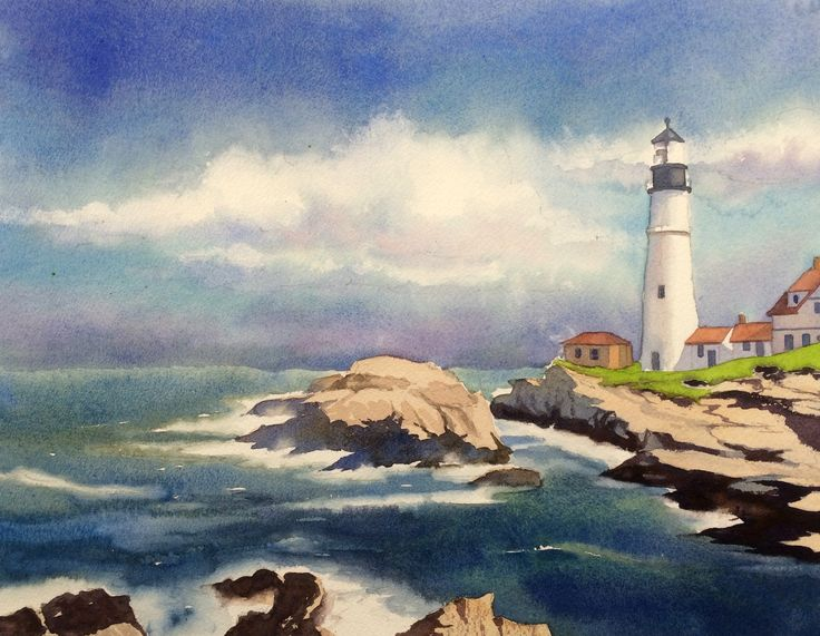 244 Best Images About Watercolor Beach Lakes Lighthouses