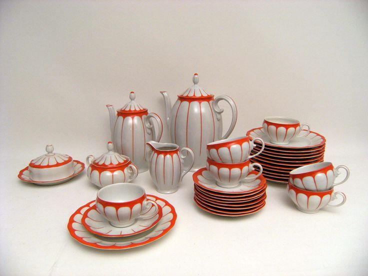 seltenes Koenigszelt-Kaffeeservice,Art Deco,20-30er Jahre,orange-weiß,Vintage in Antiquitäten & Kunst, Porzellan & Keramik, Porzellan | eBay!