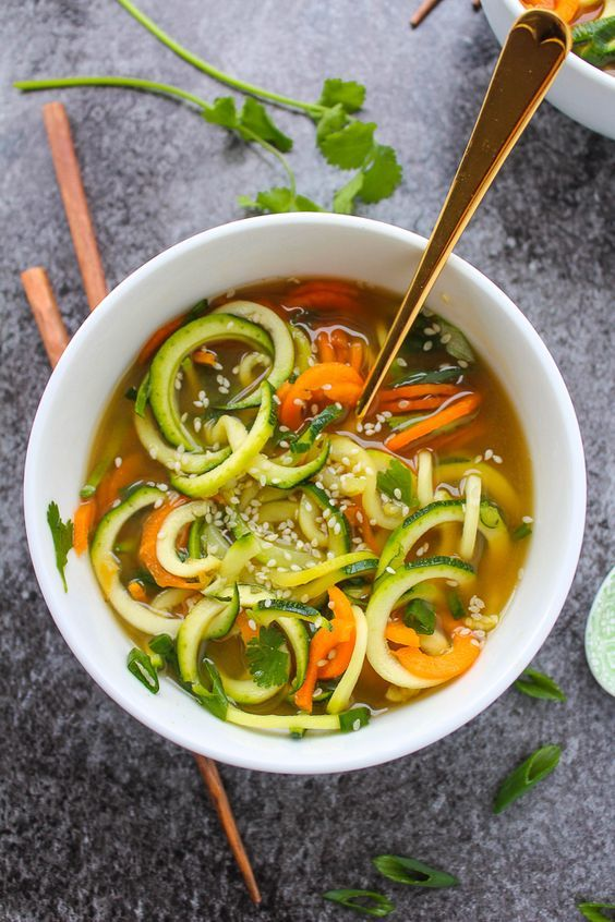 Zucchini and Carrot Vegetable noodle Miso Soup. Great #garden recipe!