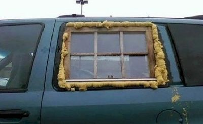 You know your a redneck when you fix your truck window with an old house window