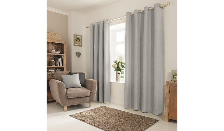 Add a touch of neutral style to any room with these textured weave curtains from George Home. In a pale grey shade, these eyelet curtains easily fit any curt...