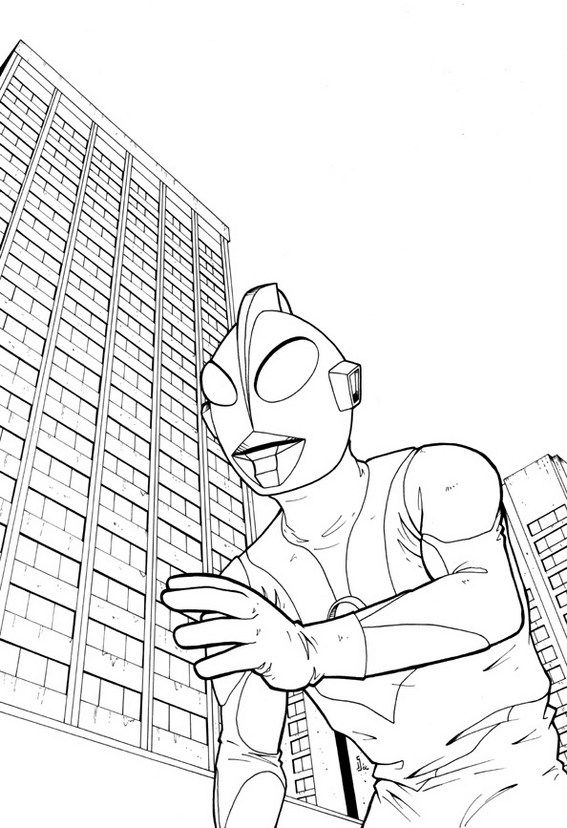 Ultraman Tiga With Building Scenery Coloring Page Buku Mewarnai