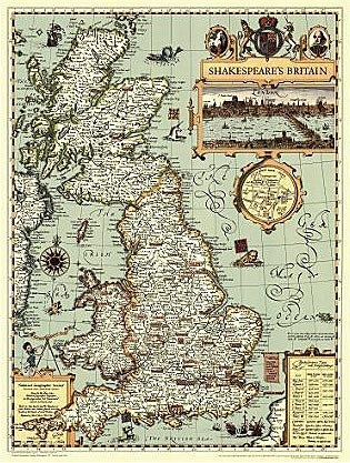 55 best mad about maps images on pinterest cards maps and london map map of shakespeares britain prints publicscrutiny Image collections