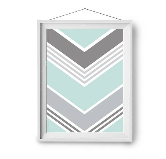 Chevron Print, Mint Grey Art, Abstract Print, Geometric Poster, Art Print, Scandinavian Decor, Wall Art, LArge Print, A1 Art, Print Avenue