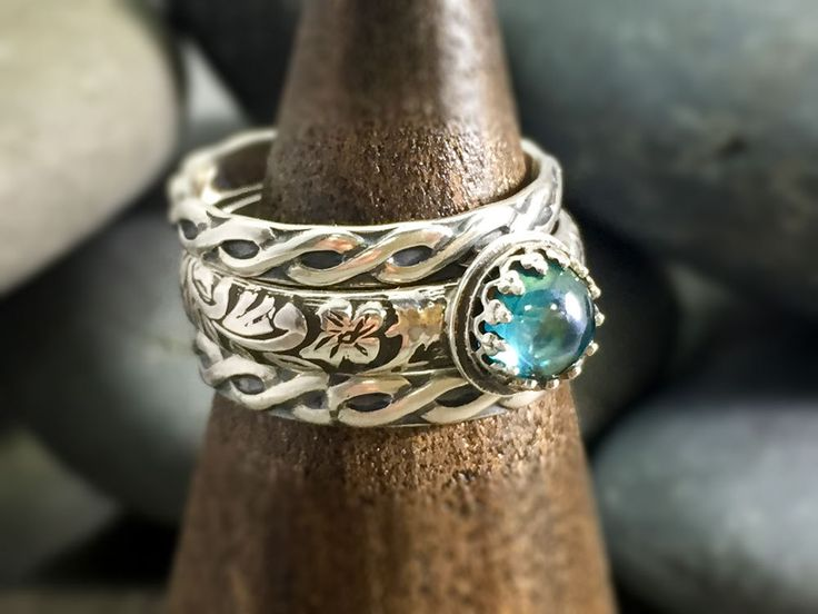 Rainbow topaz ring. Boho vintage style ring. Sterling silver gemstone ring. Handmade artisan ring. Gift for her. Stacking rings. Blue stone. by NimbleWitchCreative on Etsy