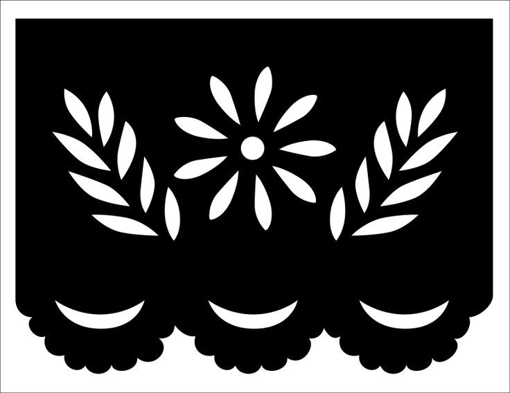 Papel picado template flower and leaves