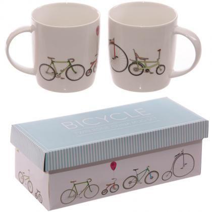 Hrnek z čínského porcelánu Retro kolo, dárkový set 2ks #hrnek #ser #bicycle #giftsforhim