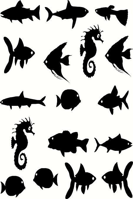 Vinyl Wall Decal Assorted Fish And Seahorse Silhouettes