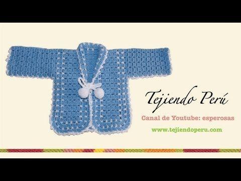 Ropón o chaqueta para bebé en crochet (Parte 1) - YouTube