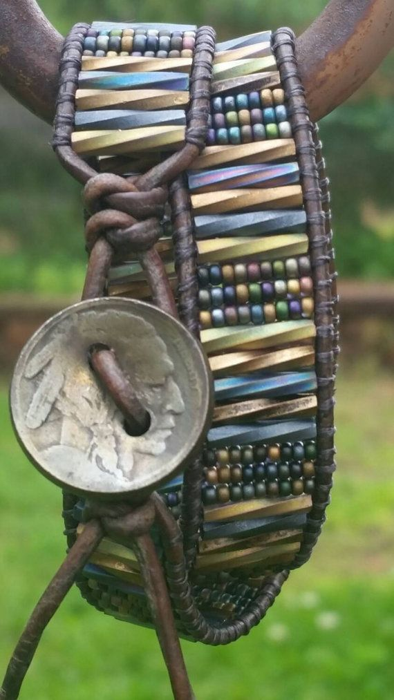Heavy Metal a Leather wrap bracelet a by offbeadinpathneosho