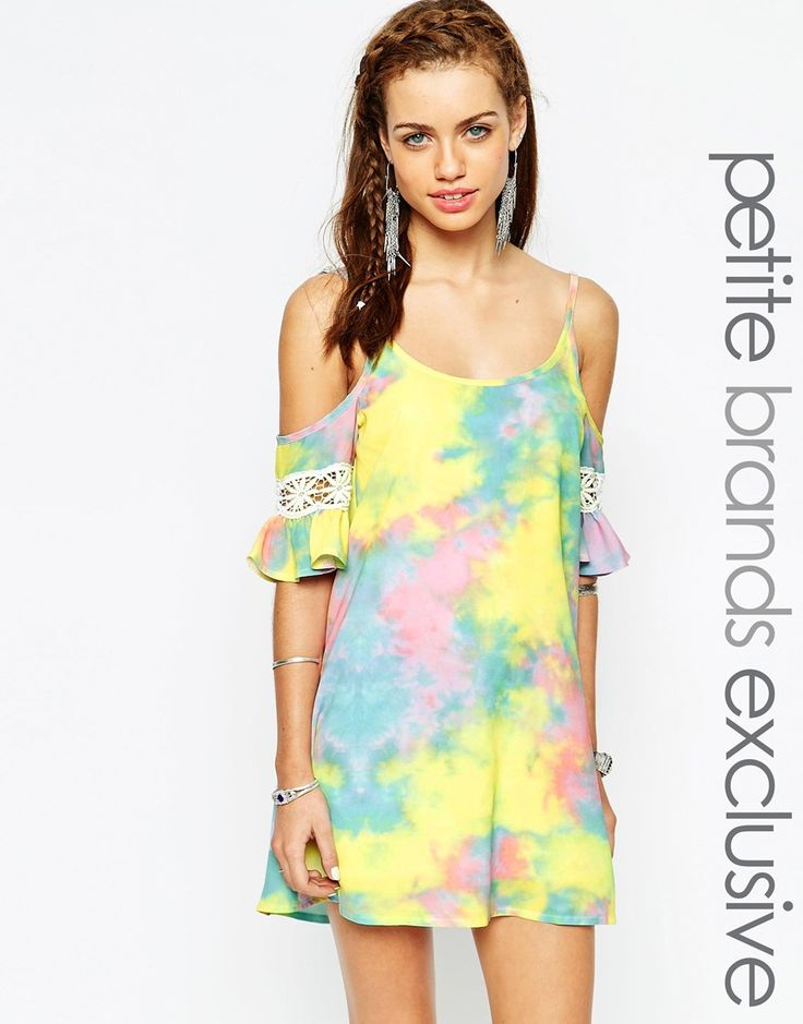 Immagine 1 diTiger Mist Petite Tie-dye Cold Shoulder Tunic Dress With Lace Embroidery