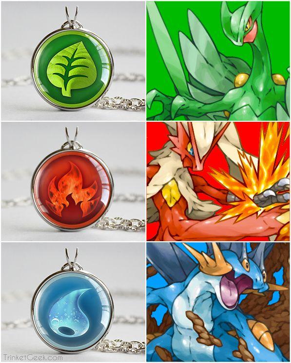 Pokemon necklace pendants, Grass, Fire and Water type. #hoenn #pokemonjewelry #treatsforgeeks