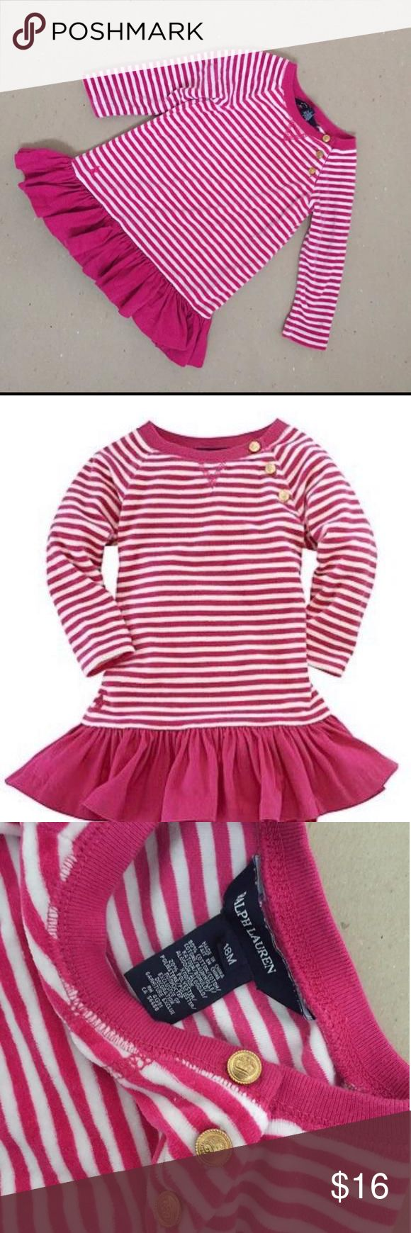 Ralph Lauren pink striped velour dress Absolutely adorable with gold buttons! Very soft and cozy. From Bloomindales. Ralph Lauren Dresses