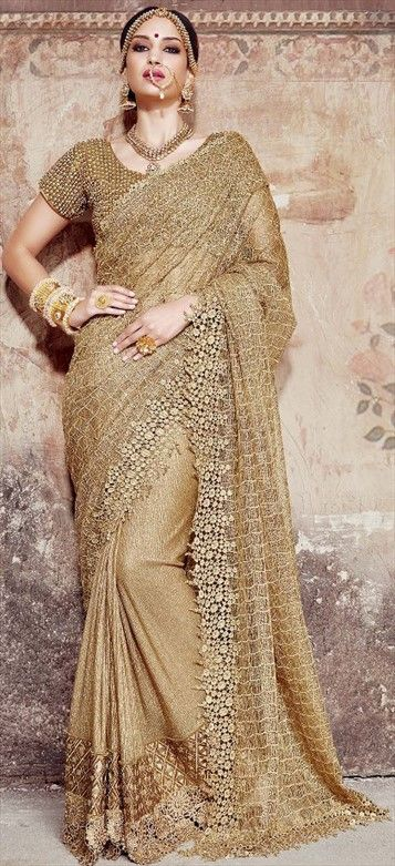 #Golden is the Color of the Season!! Stunning #Gold #Design #Saree - a MUST Have for every #Bride-To-Be !! Code:180340 Beige and Brown color family Bridal Wedding Sarees in Jute,Net fabric with Border,Machine Embroidery,Mirror work with matching unstitched blouse.
