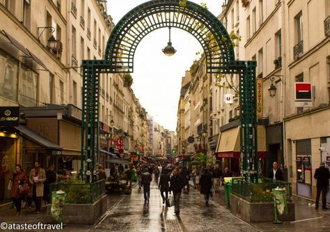 Rue Montorgueil, Paris, food market, one of the oldest market streets in central Paris. atasteoftravelblog.com