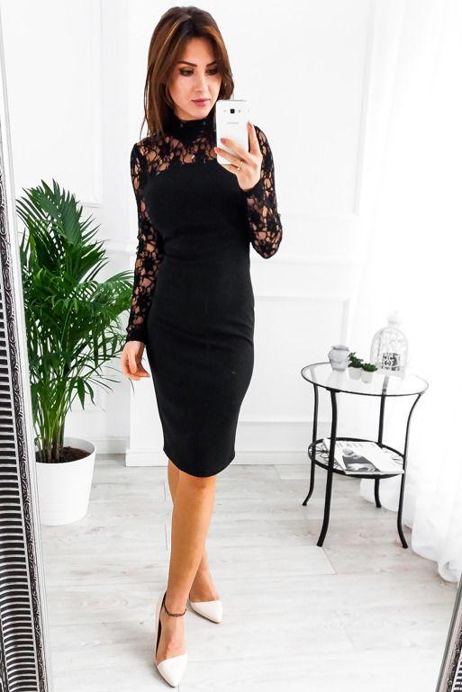 d86185ebce27a Znalezione Obrazy Dla Zapytania Czarna Koronkowa Sukienka Midi