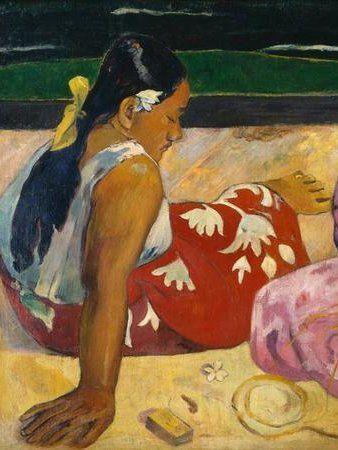 Paul Gauguin / Women in Tahiti / 1891 #Paul #Gauguin #weewado #woman #art #beach #ethnology #primitive