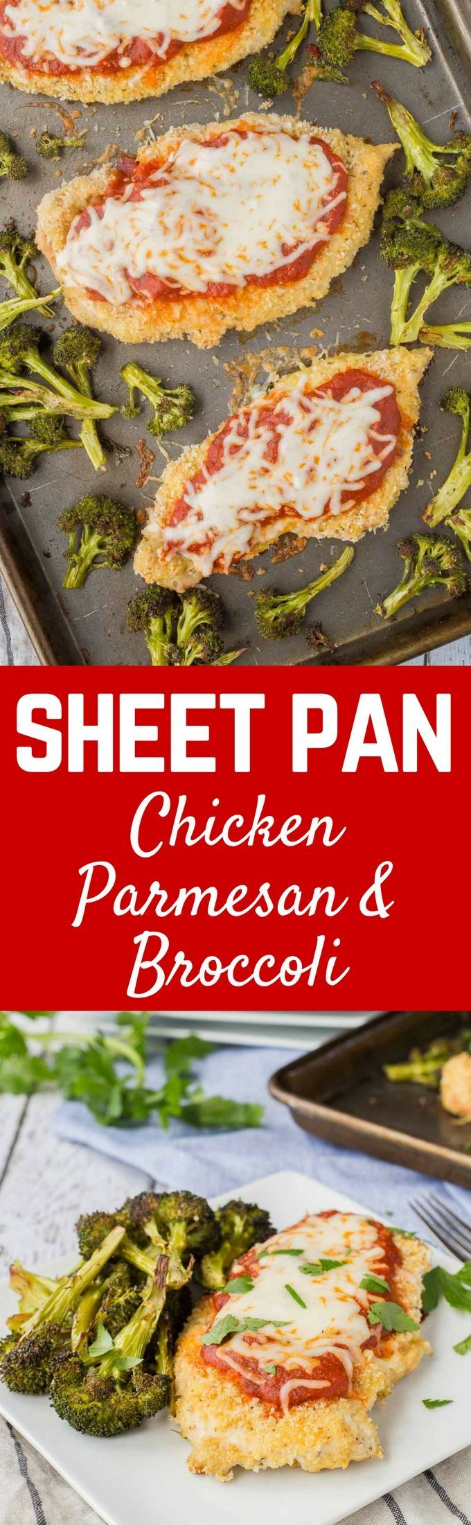 Dinner on one pan - this sheet pan baked chicken parmesan is not only healthier than the original, it's also easier! It's going to become a dinnertime fave. Get the easy dinner recipe on http://RachelCooks.com!