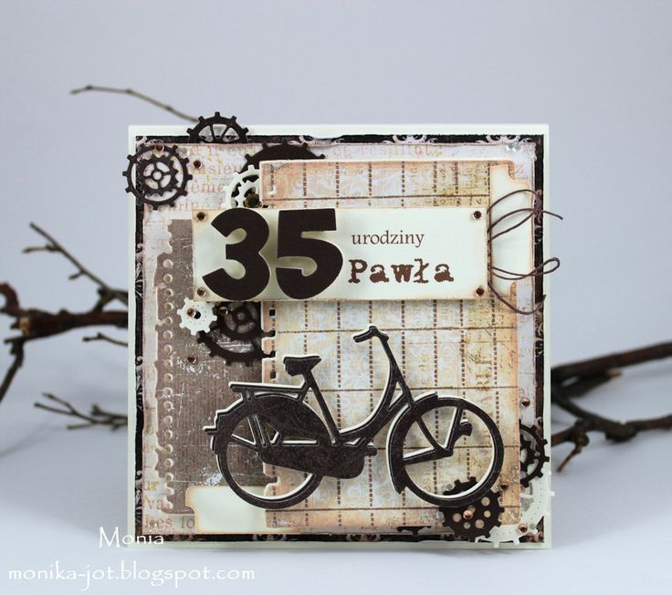 Card made by DT member Monika with among others Collectables Party Numbers (COL1347), Eline's Tab with Text UK (COL1315) and Creatables Bicycle (LR0233) by Marianne Design