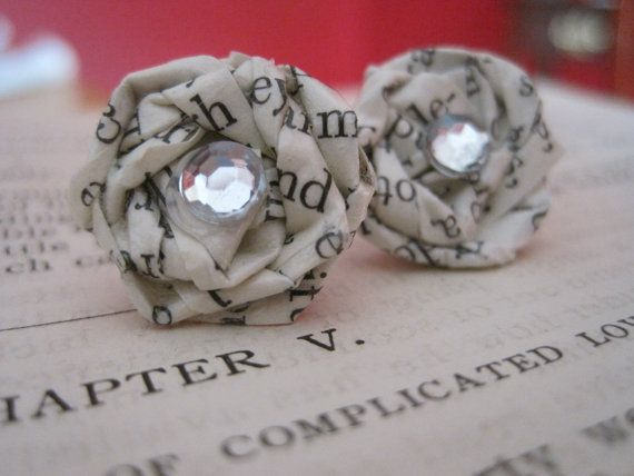 Earrings made from vintage paper