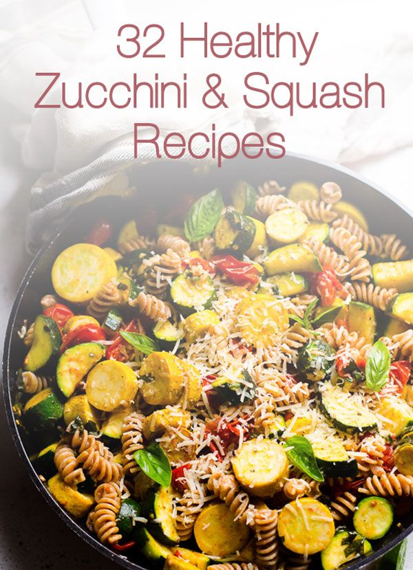 32 Healthy Zucchini and Squash Recipes including casseroles, baked, sauteed, pasta, spaghetti, on the grill, and side dish recipes made with green and yellow squash. | ifoodreal.com