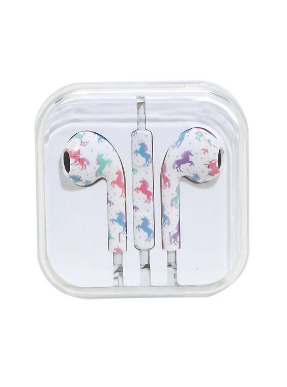 Pastel Unicorn Print Earbuds,