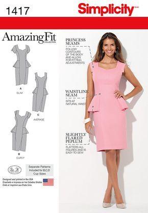Simplicity - S1417 Misses' / Women's Peplum Dress   Amazing Fit - WeaverDee.com Sewing & Crafts - 1