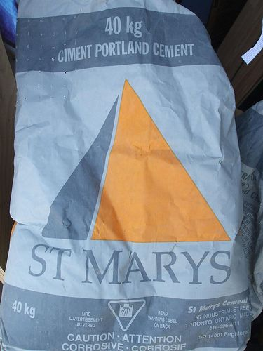 Portland cement-what concrete is made with  Any Portland cement will do, it all depends on the aggregate used. I use a fine grade brick sand that I get at my local garden center. Do not use play sand or sand from the beach, they are too coarse.