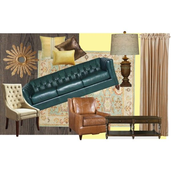 Tufted luxury by americanafurniture on polyvore teal for Teal leather couch