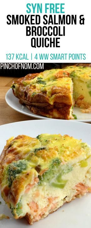 Syn Free Smoked Salmon and Broccoli Quiche | Pinch Of Nom Slimming World Recipes   137 kcal | Syn Free | 4 Weight Watchers Smart Points