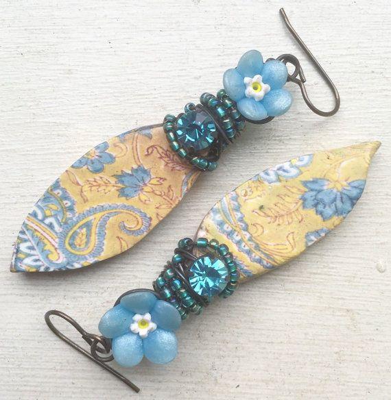 Blue forget me not flower ceramic decal earrings, flower earrings, uk shop, gift for her, statement earrings, wirework rhinestone earrings