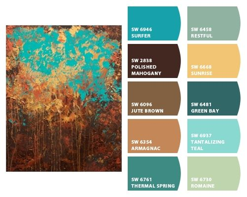 Sherwin Williams Color Schemes: SURFER, RESTFUL, POLISHED MAHOGANY, SUNRISE, JUTE BROWN, GREEN BAY, ARMAGNAC, TANTALIZING TEAL, THERMAL SPRINGS, AND ROMAINE