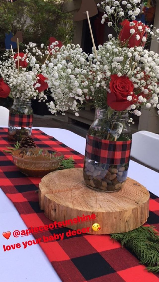 Buffalo Plaid Wedding Centerpieces Red And Black Check
