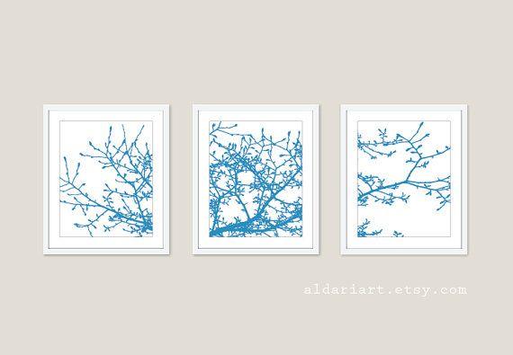 magnolia arbre branches wall art print set bleu et par aldariart salon pinterest. Black Bedroom Furniture Sets. Home Design Ideas