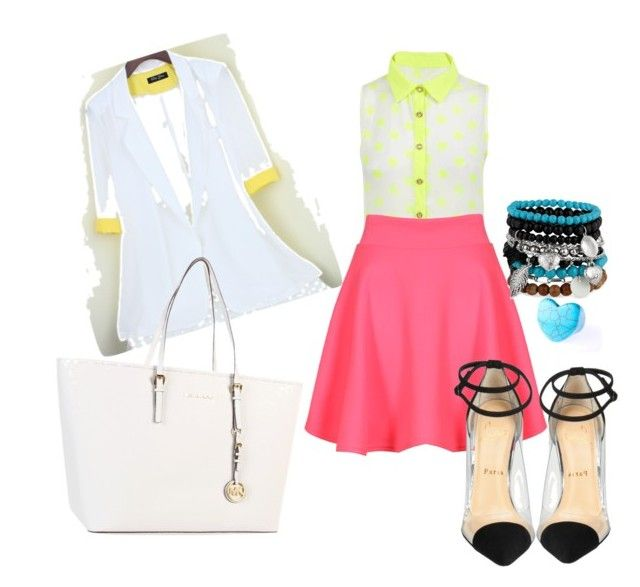 Neon by radmany on Polyvore featuring polyvore, fashion, style, Christian Louboutin, MICHAEL Michael Kors and MOOD