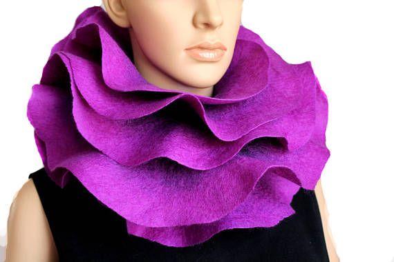 Long ruffle felted scarf Jabot Neck warmer Plum Purple Lilac