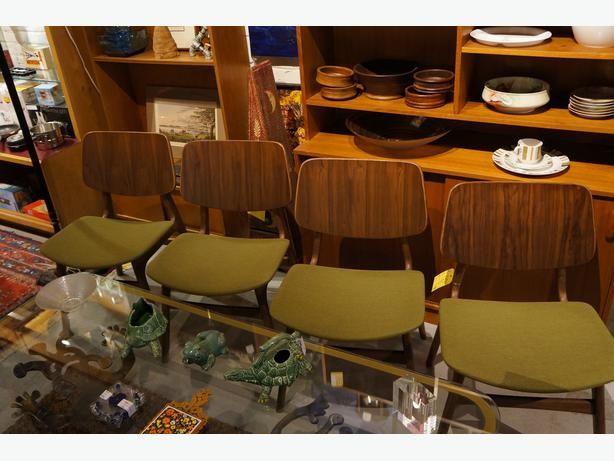 4 Fabulous Mid century Style Walnut Dining Room Chairs (I-36416)