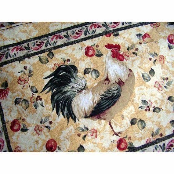 placemats and napkins   Rooster Placemats and Cloth Napkins set of 6 by cranberrymak