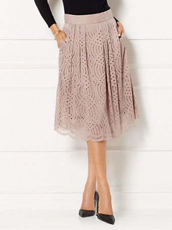 Eva Mendes Collection - Maddie Eyelet Skirt  - New York & Company. Eva Mendes Collection - Maddie Eyelet Skirt  Intricately detailed eyelet fabric enhances the universally flattering Maddie Skirt - a most-loved look in Eva's collection. From the exclusive Eva Mendes Collection