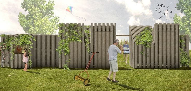 A garden fence that brings neighbours closer together and let's them share multiple functions like a large table, outdoor kitchen, daybed and even a rabbit hutch. By Atelier to the Bone http://www.attb.nl