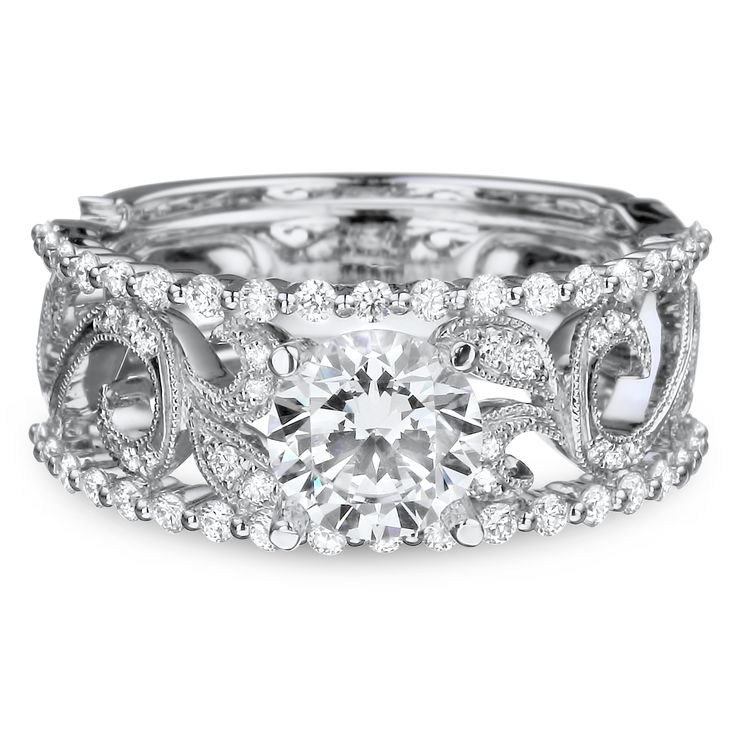 DFWR2199-RD1.0W 18K White Gold Wide Vintage Scroll Engagement Ring with .48ctw