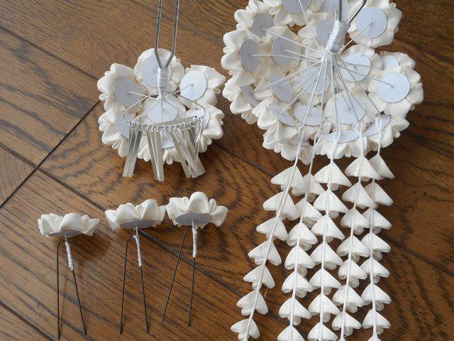 白い花束の簪(セット)