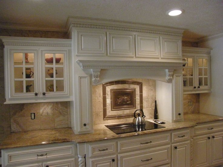 Nice Decorative Range Hood Cover With Crown Molding And A Decorative Backsplash  Mural. Part 25