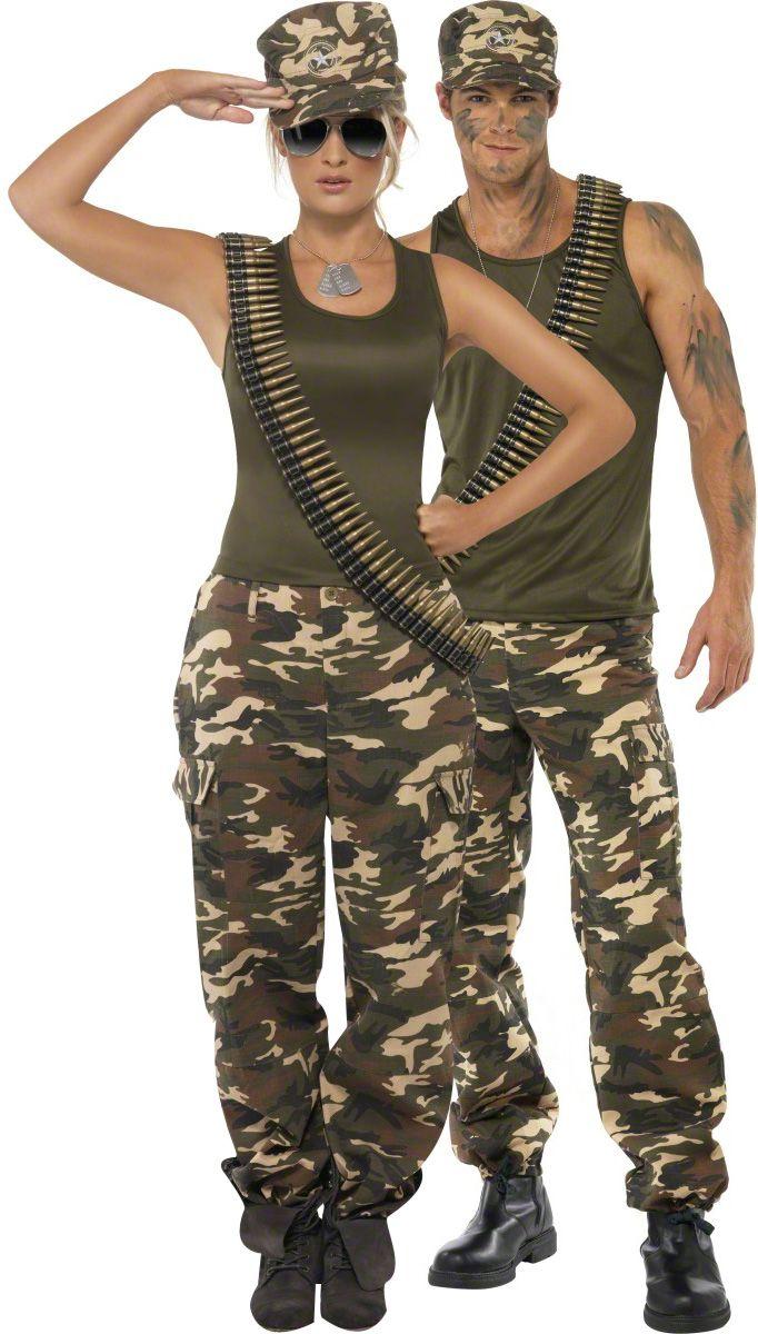Disfraz de pareja militar: Disfraz militar para mujerEste disfraz militar para mujer está compuesto de una camiseta y un pantalón. La camiseta es agradable de llevar. El pantalón de camuflaje es ajustable...